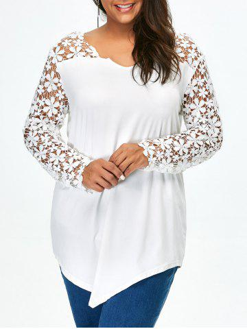 Lace Panel Plus Size Long Sleeve Tunic T Shirt - White - 5xl
