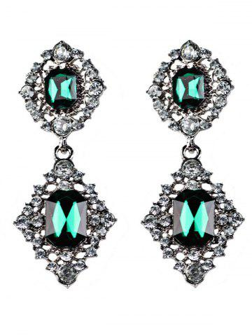 Chic Faux Gems Embellished Drop Earrings BLACKISH GREEN