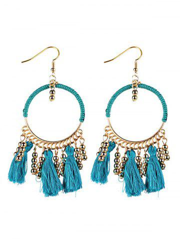 Bohemian Tassel Circle Drop Earrings - Blue