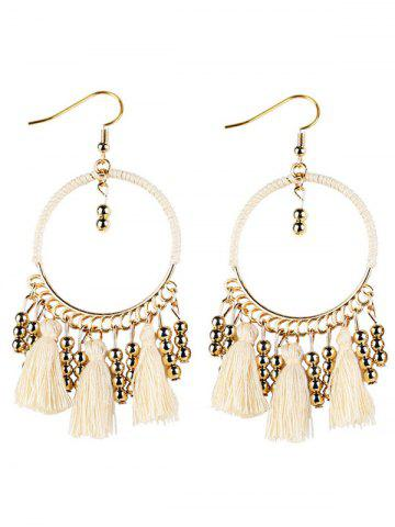 Cheap Bohemian Tassel Circle Drop Earrings - WHITE  Mobile