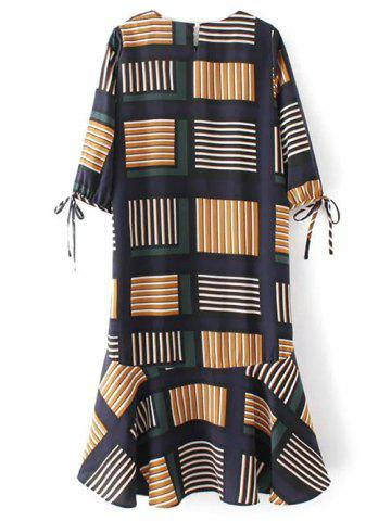 Best Ruffle Hem Geo Print Midi Dress - L MULTICOLOR Mobile