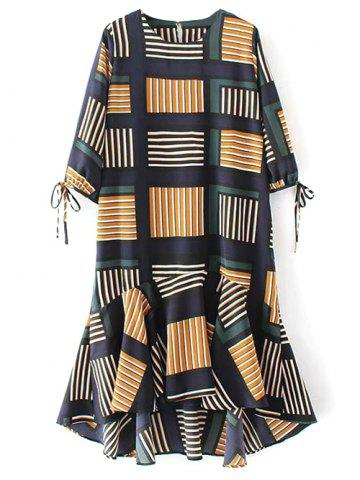Ruffle Hem Geo Print Midi Dress - Multicolor - M