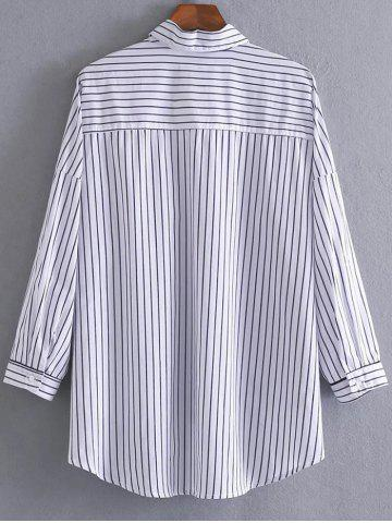 Cheap High Low Pocket Striped Shirt - M STRIPE Mobile