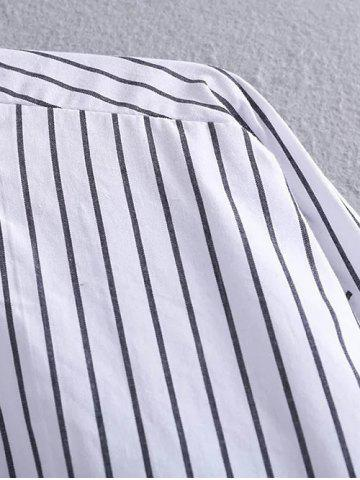 Outfit High Low Pocket Striped Shirt - M STRIPE Mobile