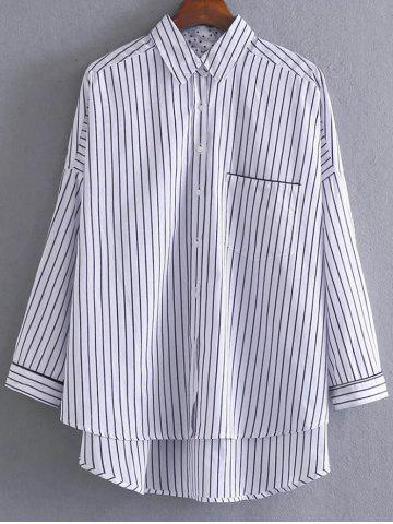 Fashion High Low Pocket Striped Shirt - M STRIPE Mobile