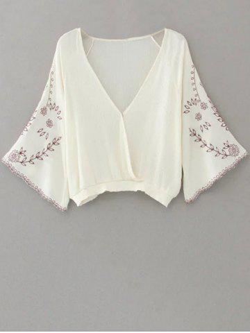 Online Linen Embroidered Crop Blouse - M WHITE Mobile
