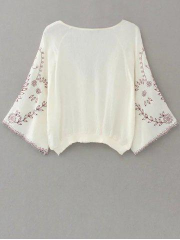 Outfits Linen Embroidered Crop Blouse - S WHITE Mobile