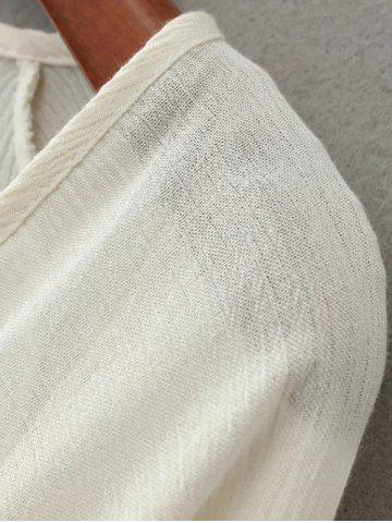 Hot Linen Embroidered Crop Blouse - S WHITE Mobile