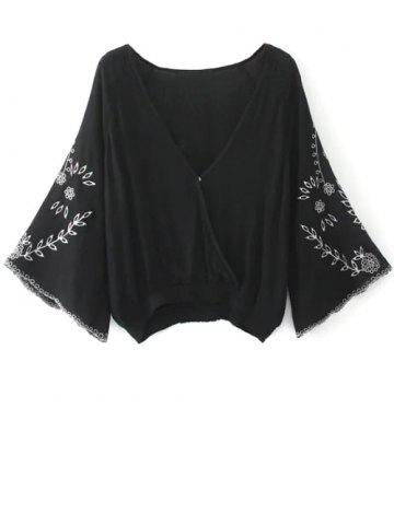 Hot Linen Embroidered Crop Blouse - M BLACK Mobile