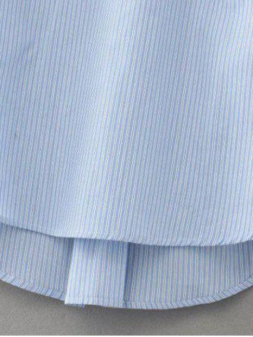 Latest Striped Lace Up Embroidered Blouse - L LIGHT BLUE Mobile