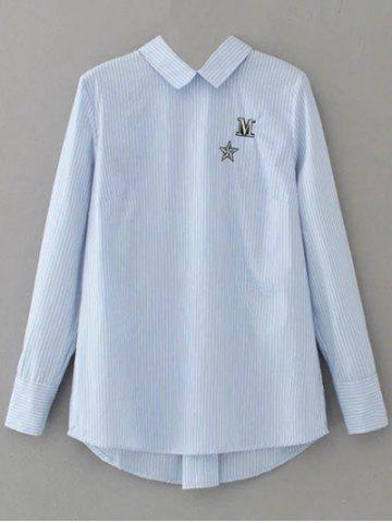 Sale Striped Lace Up Embroidered Blouse - M LIGHT BLUE Mobile