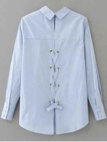 Chic Striped Lace Up Embroidered Blouse - M LIGHT BLUE Mobile