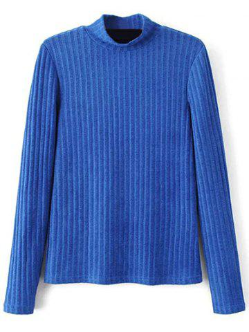 Store Mock Neck Ribbed Knitwear - M BLUE Mobile