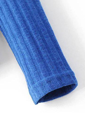 Cheap Mock Neck Ribbed Knitwear - S BLUE Mobile