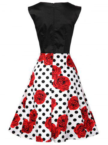 Sale Polka Dot Floral Knee Length Flare Dress - M BLACK AND WHITE AND RED Mobile
