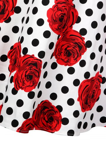 Outfits Polka Dot Floral Knee Length Flare Dress - M BLACK AND WHITE AND RED Mobile