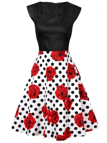 Polka Dot Floral Knee Length Flare Dress - Black And White And Red - S