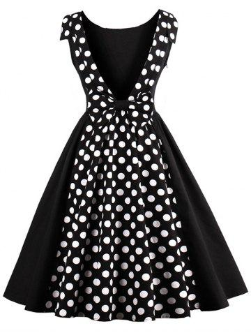 Online Polka Dot Print Backless Swing Vintage Dress BLACK XL