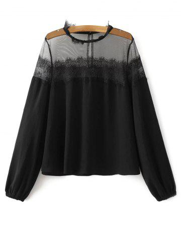 Mesh Yoke Eyelash Lace Blouse - Black - L