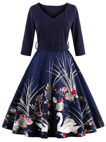 Chic Vintage Print Belted Flare High Waist Dress PURPLISH BLUE 4XL