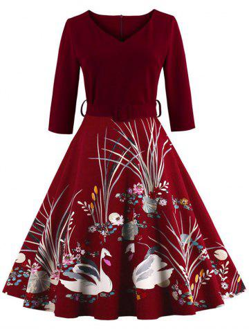 Outfit Vintage Print Belted Flare High Waist Dress BURGUNDY S