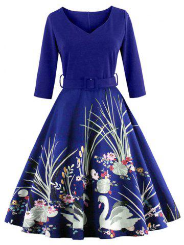 Discount Vintage Printed Fit and Flare Waisted Dress