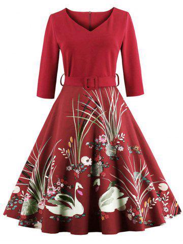 Store Vintage Print Belted Flare High Waist Dress RED S
