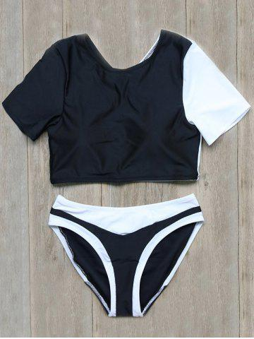 Outfit Color Block Backless Short Sleeve Swimwear - S BLACK Mobile