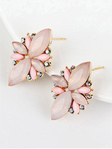 Hot Candy Color Faux Gems Embellished Earrings PINK