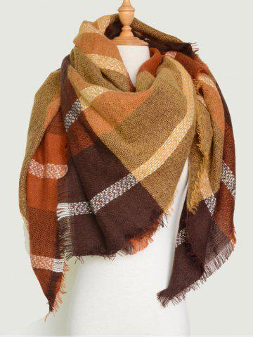 Store Plaid Pattern Knit Blanket Shawl Wrap Scarf with Fringed