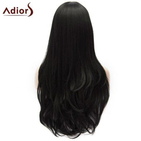 Shop Adiors Long Shaggy Wavy Inclined Bang Party Synthetic Wig - BLACK  Mobile