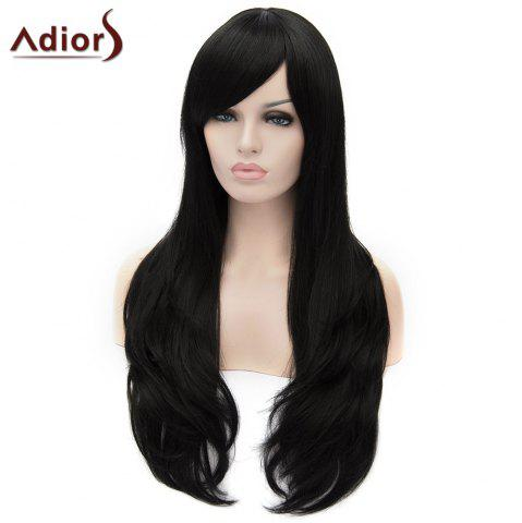 Trendy Adiors Long Shaggy Wavy Inclined Bang Party Synthetic Wig - BLACK  Mobile