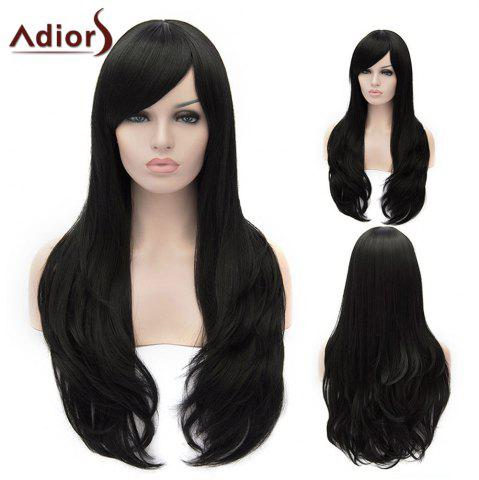 Sale Adiors Long Shaggy Wavy Inclined Bang Party Synthetic Wig BLACK