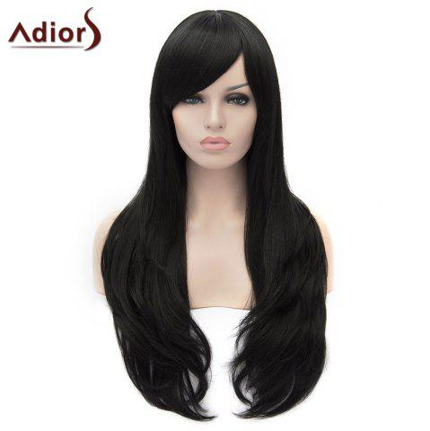 New Adiors Long Shaggy Wavy Inclined Bang Party Synthetic Wig - BLACK  Mobile