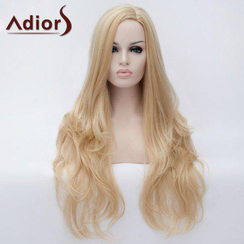 New Adiors Long Side Parting Fluffy Slightly Curled Party Synthetic Wig LIGHT GOLD