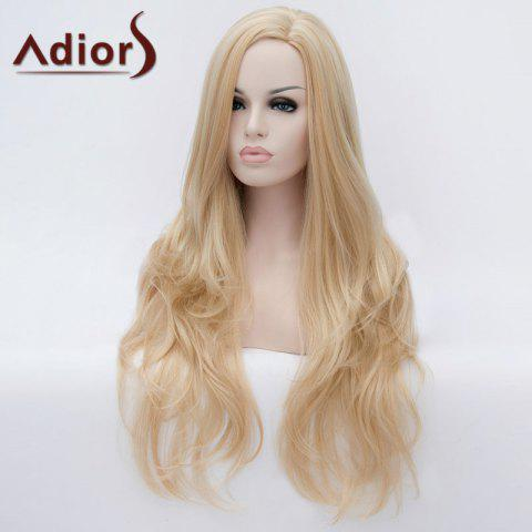 Trendy Adiors Long Side Parting Fluffy Slightly Curled Party Synthetic Wig - LIGHT GOLD  Mobile