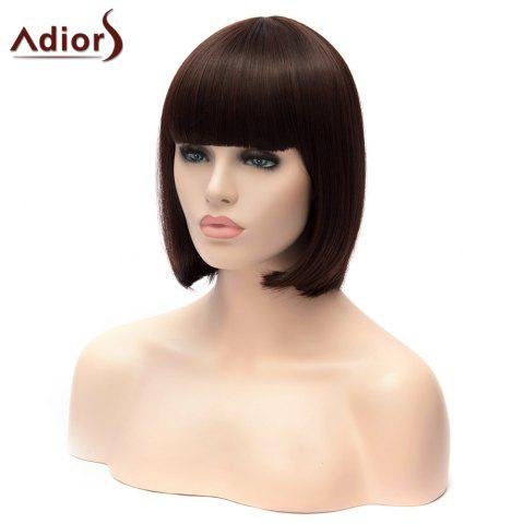 Unique Adiors Short Full Bang Silky Straight Bob Party Synthetic Wig - DEEP BROWN  Mobile