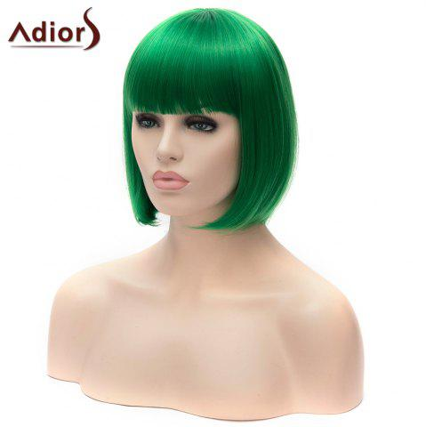 Fashion Adiors Short Full Bang Bob Silky Straight Party Cosplay Synthetic Wig - GREEN  Mobile