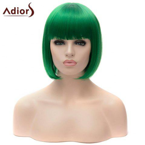 Unique Adiors Short Full Bang Bob Silky Straight Party Cosplay Synthetic Wig - GREEN  Mobile