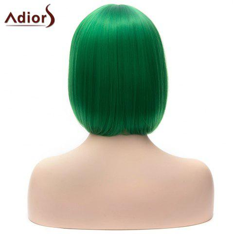Latest Adiors Short Full Bang Bob Silky Straight Party Cosplay Synthetic Wig - GREEN  Mobile