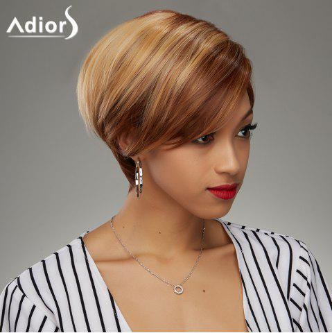 Fashion Short Haircut Soft Straight Blonde Highlight Synthetic Wig For Women - Colormix - 24inch