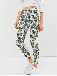 Skinny Pineapple Print Leggings - WHITE