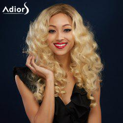 Sparkling Golden Mixed Long Fluffy Curly Side Parting Synthetic Wig