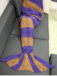 Color Block Hollow Out Crochet Knit Striped Mermaid Blanket Throw
