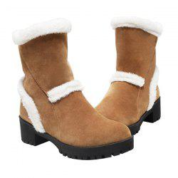 Chunky Heel Fuzzy Suede Snow Boots
