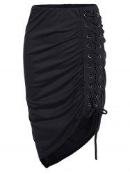Lace Up Ruched High Low Skirt - BLACK