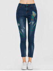 Peacock Embroidered High Waist Jeans - DEEP BLUE
