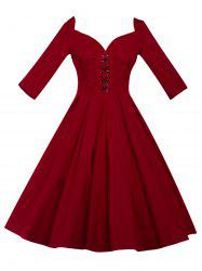 Lace Up Bowknot Vintage Swing Dress -