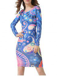 Long Sleeve Cartoon Print Sheath Dress