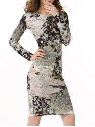 Long Sleeve Flower Print Bodycon Dress
